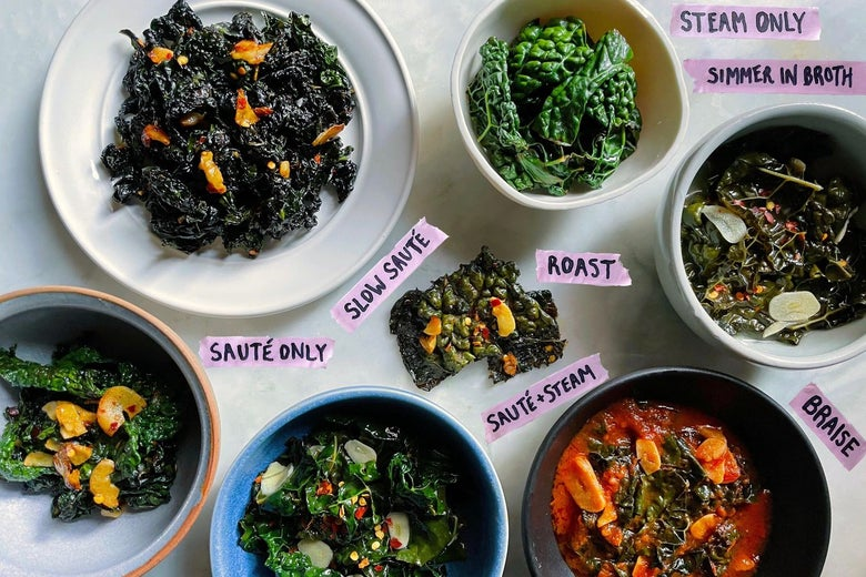 Seven different preparations of kale labeled sauté only, slow sauté, sauté and steam, roast, simmer in broth, steam only, and braise. All but the bowl of steam-only kale are topped with sliced garlic and red pepper flakes.
