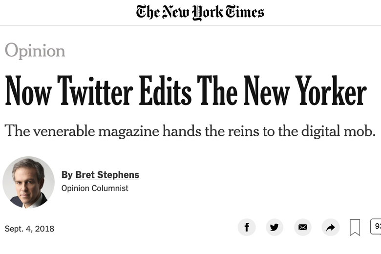 "A screenshot of Bret Stephens' column titled ""Now Twitter Edits the New Yorker."""