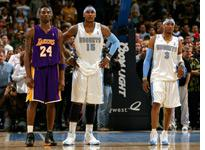Allen Iverson (far right) and Carmelo Anthony of the Denver Nuggets stand next to Kobe Bryant of the Los Angeles Lakers           Click image to expand.
