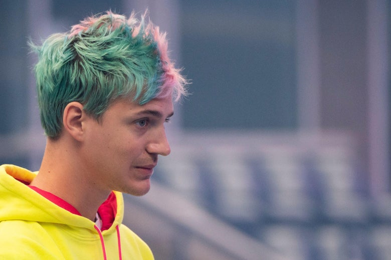 Ninja speaks to the crowd at the start of the 2019 Fortnite World Cup Finals.