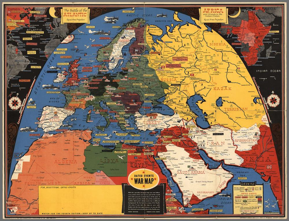 History of maps in WWII: Stanley Turner dated war event maps.