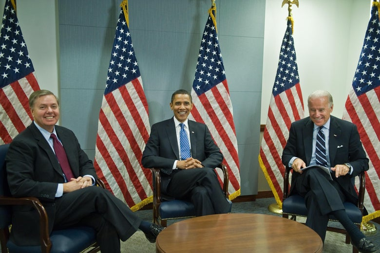 Lindsey Graham, Barack Obama, and Joe Biden in Jan. 2009.