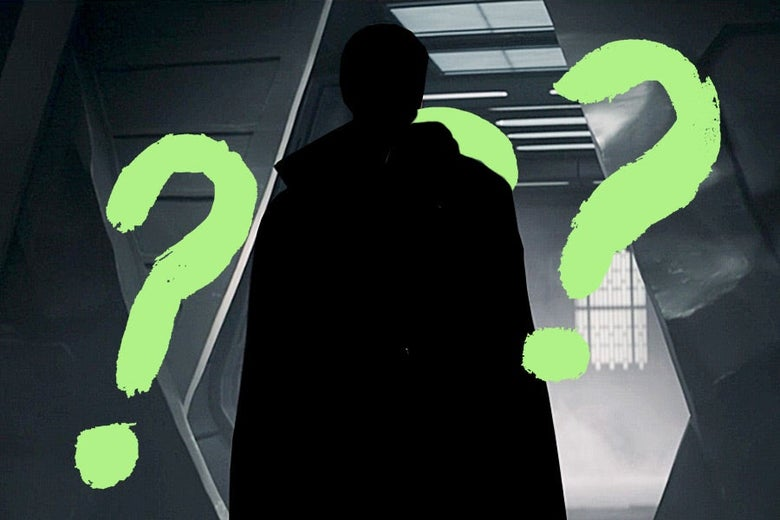A black silhouetted figure stands in a doorway surrounded by crudely drawn question marks.