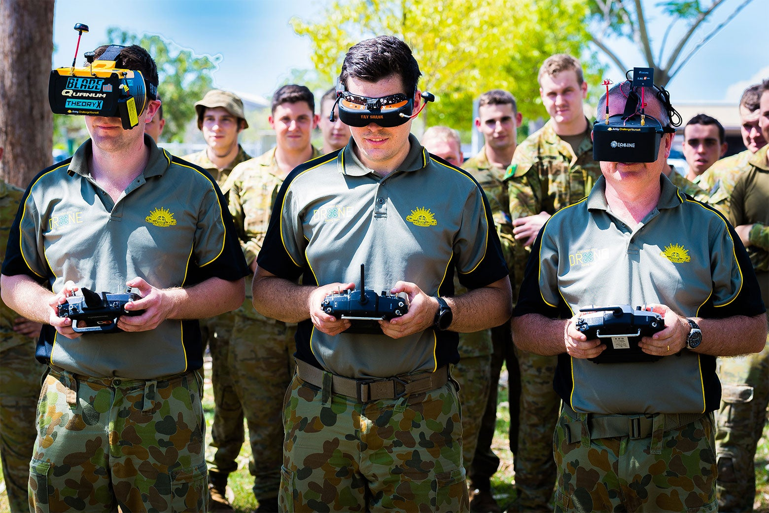Members of the Australian Army Drone Racing Association