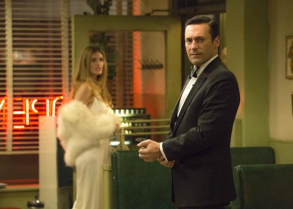 Maliabeth Johnson as Audrey and Jon Hamm as Don Draper in Mad Me