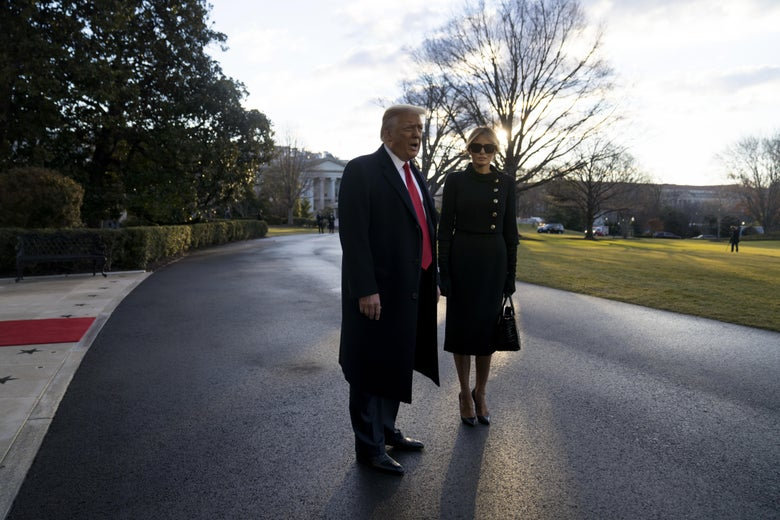 Trump and Melania leaving the White House for the last time.