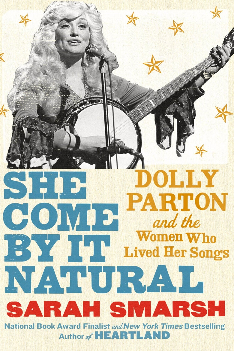 Book jacket showing Dolly playing banjo at a microphone surrounded by illustrated stars