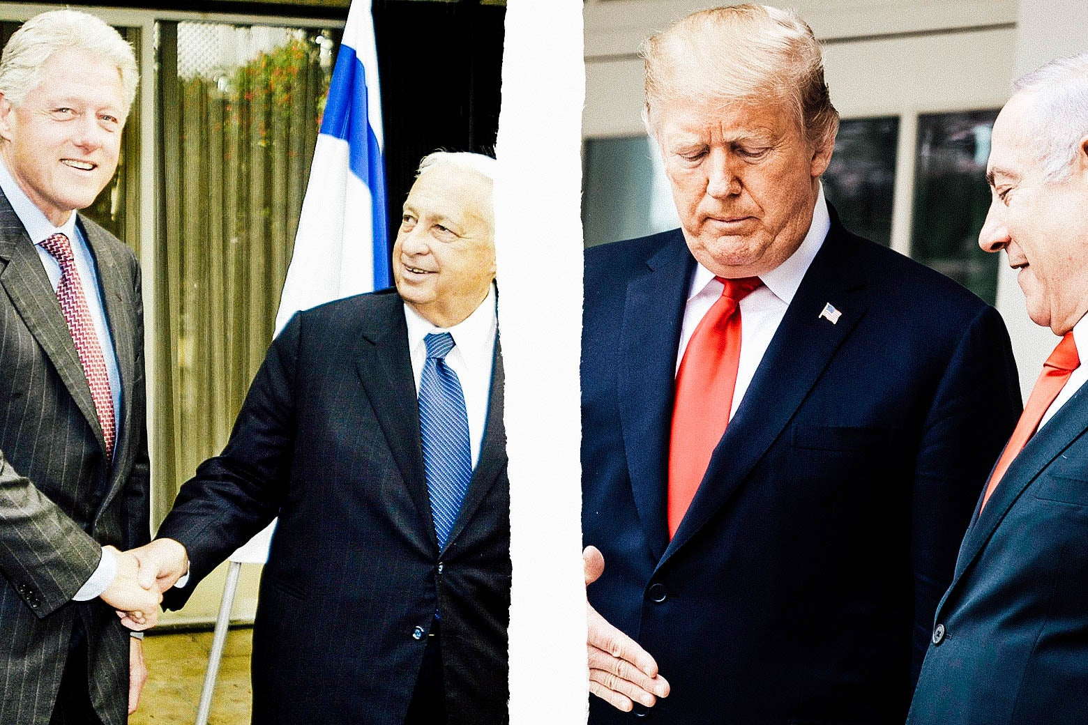 Bill Clinton with former Israel Prime Minister Ariel Sharon in 2000 and Donald Trump with Benjamin Netanyahu in 2019.