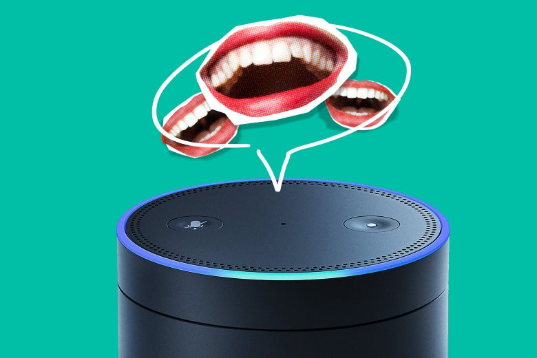 Photo illustration: an Amazon Echo device with a drawn-in speech bubble depicting laughter.
