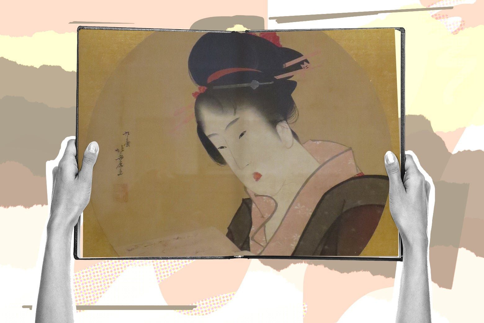 Woman's hands reading a book showing a painting of a woman by Katsushika Hokusai.