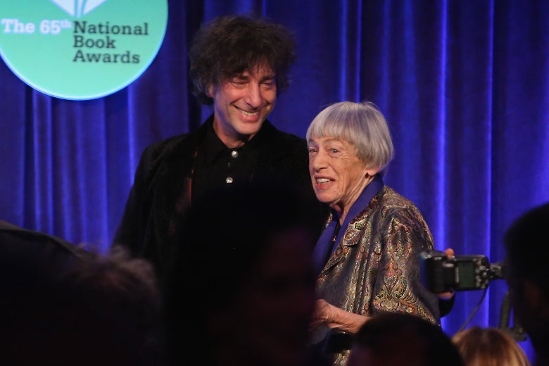 Neil Gaiman and Ursula K. LeGuin at the 2014 National Book Awards.