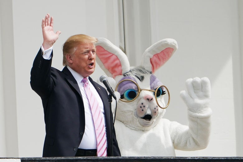 Trump and the Easter Bunny wave from the White House veranda.