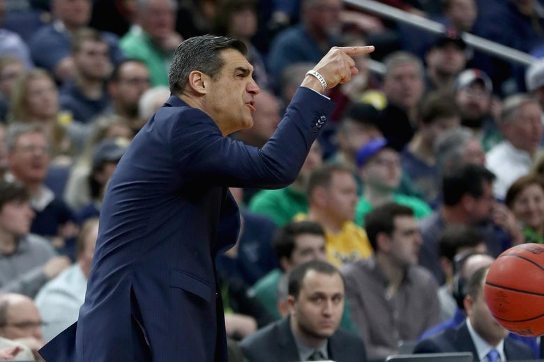 BUFFALO, NY - MARCH 18:  Head coach Jay Wright of the Villanova Wildcats reacts against the Wisconsin Badgers during the second round of the 2017 NCAA Men's Basketball Tournament at KeyBank Center on March 18, 2017 in Buffalo, New York.  (Photo by Elsa/Getty Images)