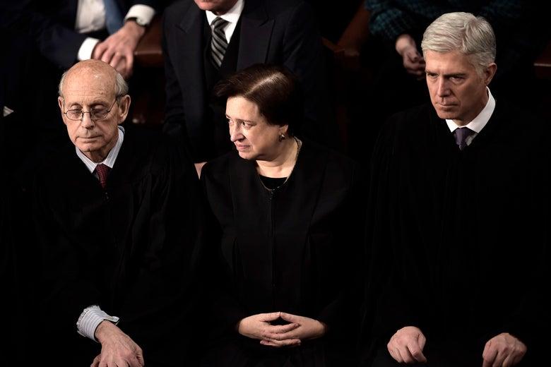 Supreme Court Justices Stephen G. Breyer, Elena Kagan, and Neil Gorsuch.