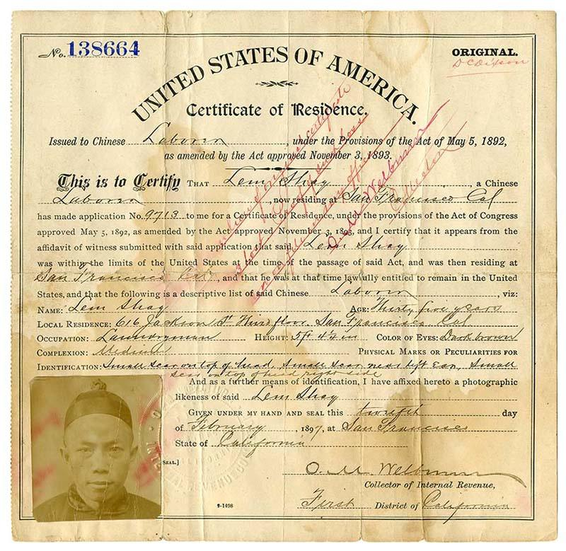 Certificate of residence for Lem Shay, laundryman, age 35 years, of San Francisco, California 1894  Feb. 12 [No. 138664]