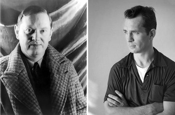 Left: Evelyn Waugh, December 1940; right: Jack Kerouac circa 1956.