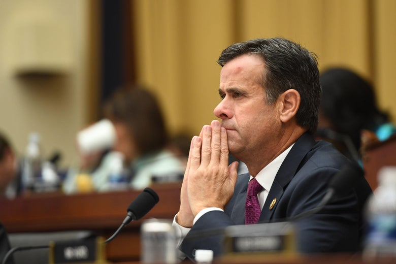Rep. John Ratcliffe, Republican of Texas, listens as former Special Counsel Robert Mueller testifies in Washington, DC, on July 24, 2019.