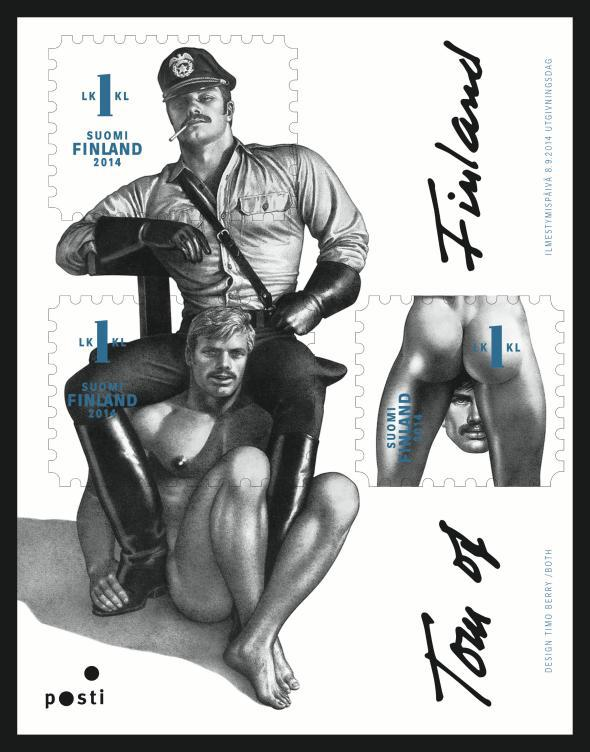 Sheet of the Tom of Finland stamps.