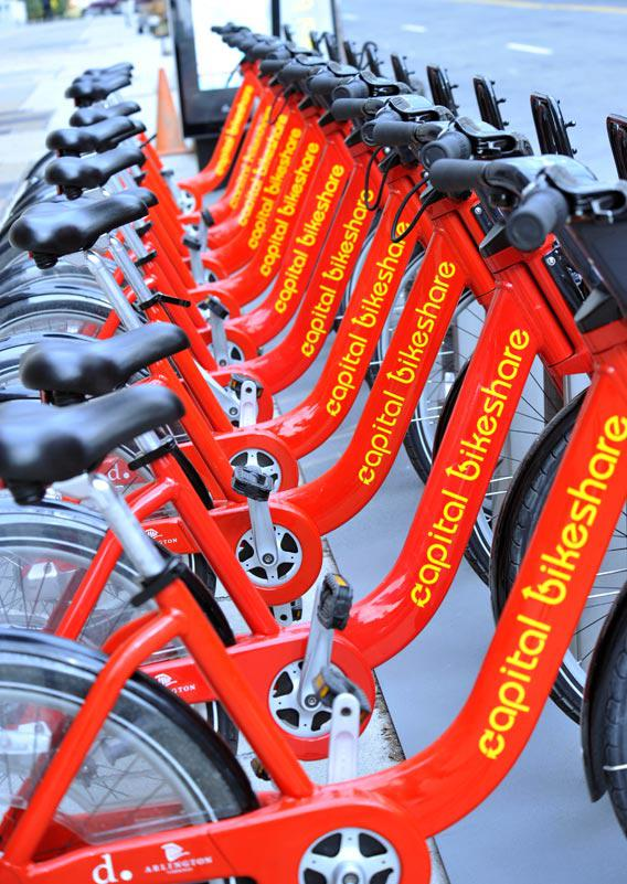 Bicycles are seen in a rack at a bike sharing station January 25, 2011 in Washington, DC.