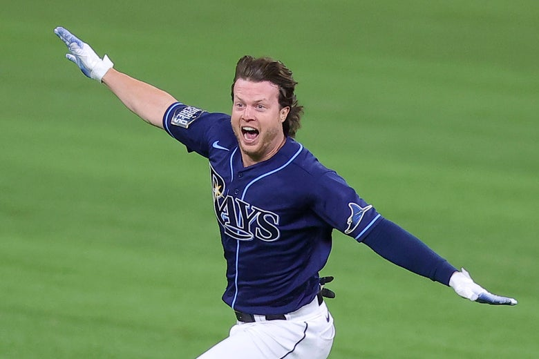 Brett Phillips celebrates after his game-winning hit.