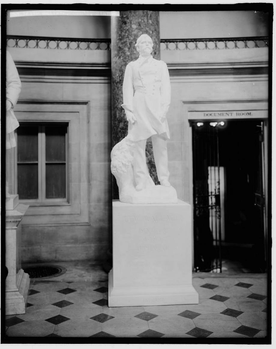 Statue of Lew Wallace in Statuary Hall at the U.S. Capitol in 1910. Wallace is the only novelist in the hall.