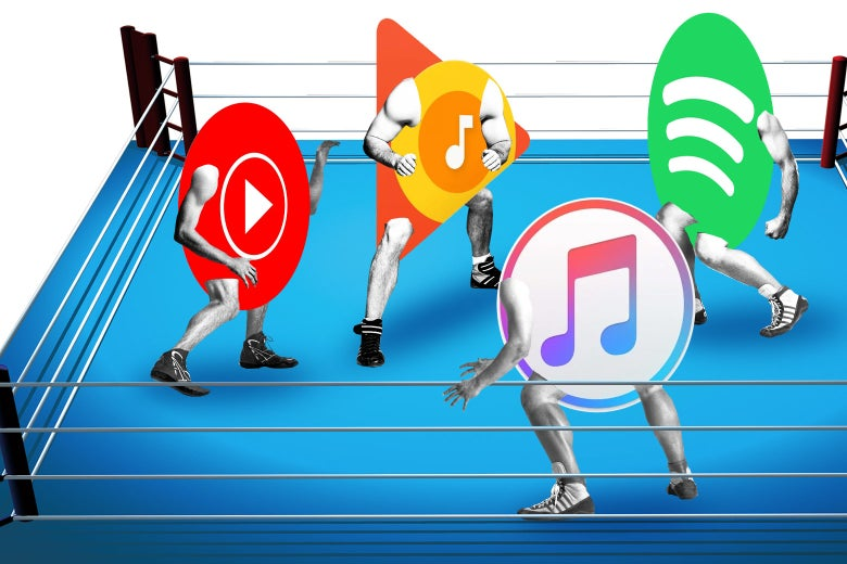 YouTube, Google Play, Spotify, and Apple logos wrestling.