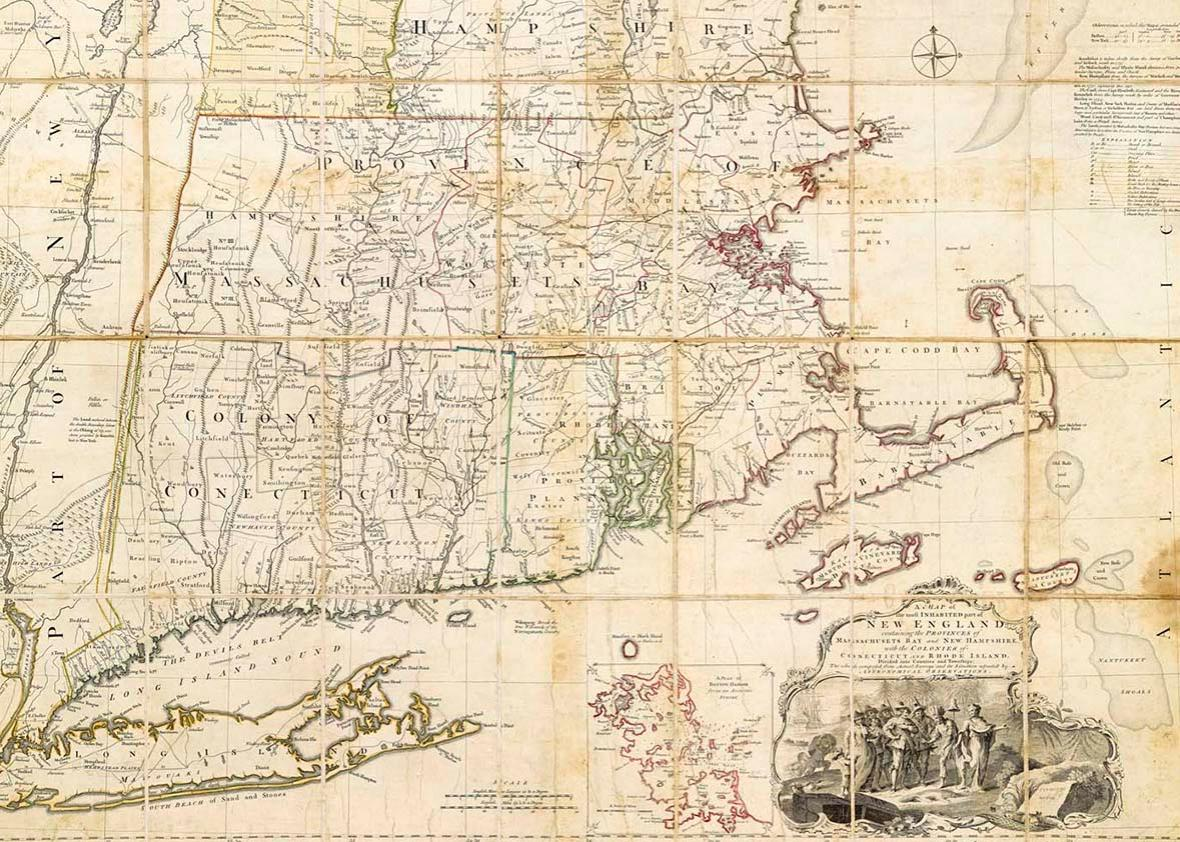 A Map of the most Inhabited part of New England, containing the Provinces of Massachusetts Bay and New Hampshire, with the Colonies of Conecticut and Rhode Island, Divided into Counties and Townships: The Whole composed from Actual Surveys and its Situation adjusted by Astronomical Observations.