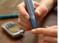 Checking blood sugar.