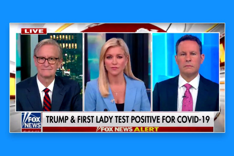 "The hosts of Fox & Friends are seen. A chyron below reads: ""Trump & First Lady Test Positive for COVID-19."""