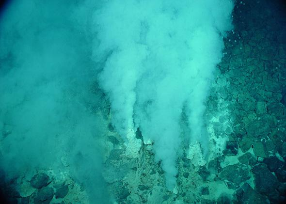 White smokers at the Champagne vent in the Marianas Trench Marine National Monument.