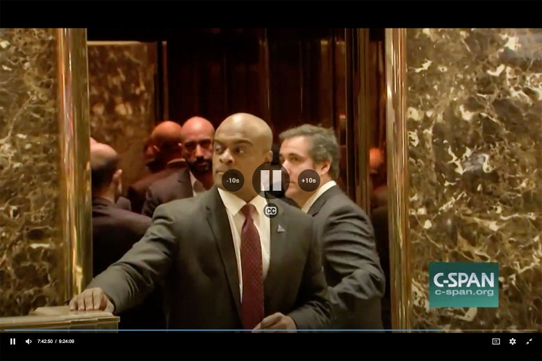 """Screenshot of Michael Cohen and a man who could be Ahmed Al-Rumaihi on December 12, 2016. """"srcset ="""" https://compote.slate.com/images/6170521e-fd84-43dd-9eaf-7e13d21269b7.jpeg?width=780&height=520&rect=1560x1040&offset=0x0 1x, https://compote.slate.com/images /6170521e-fd84-43dd-9eaf-7e13d21269b7.jpeg?width=780&height=520&rect=1560x1040&offset=0x0 2x"""