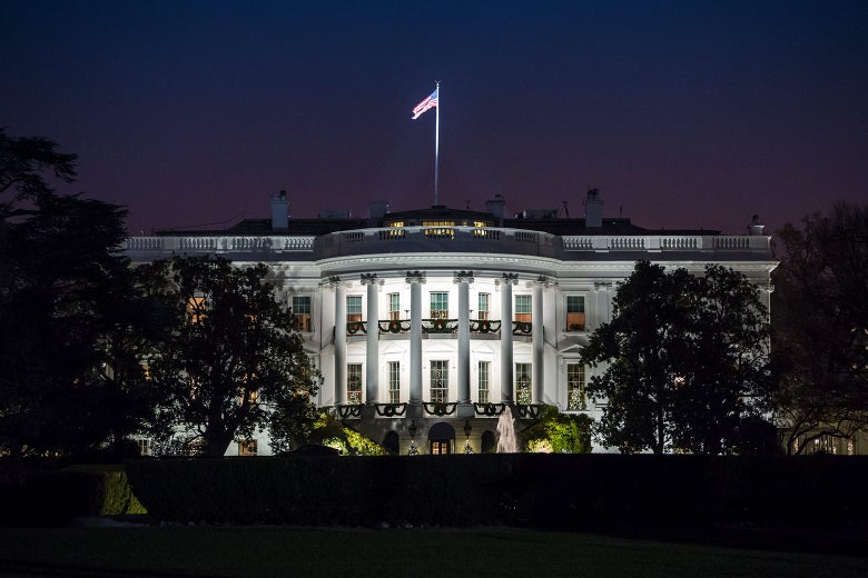 An ominous-looking White House.