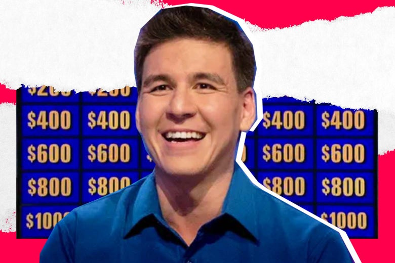 James Holzhauer in front of a Jeopardy! board.