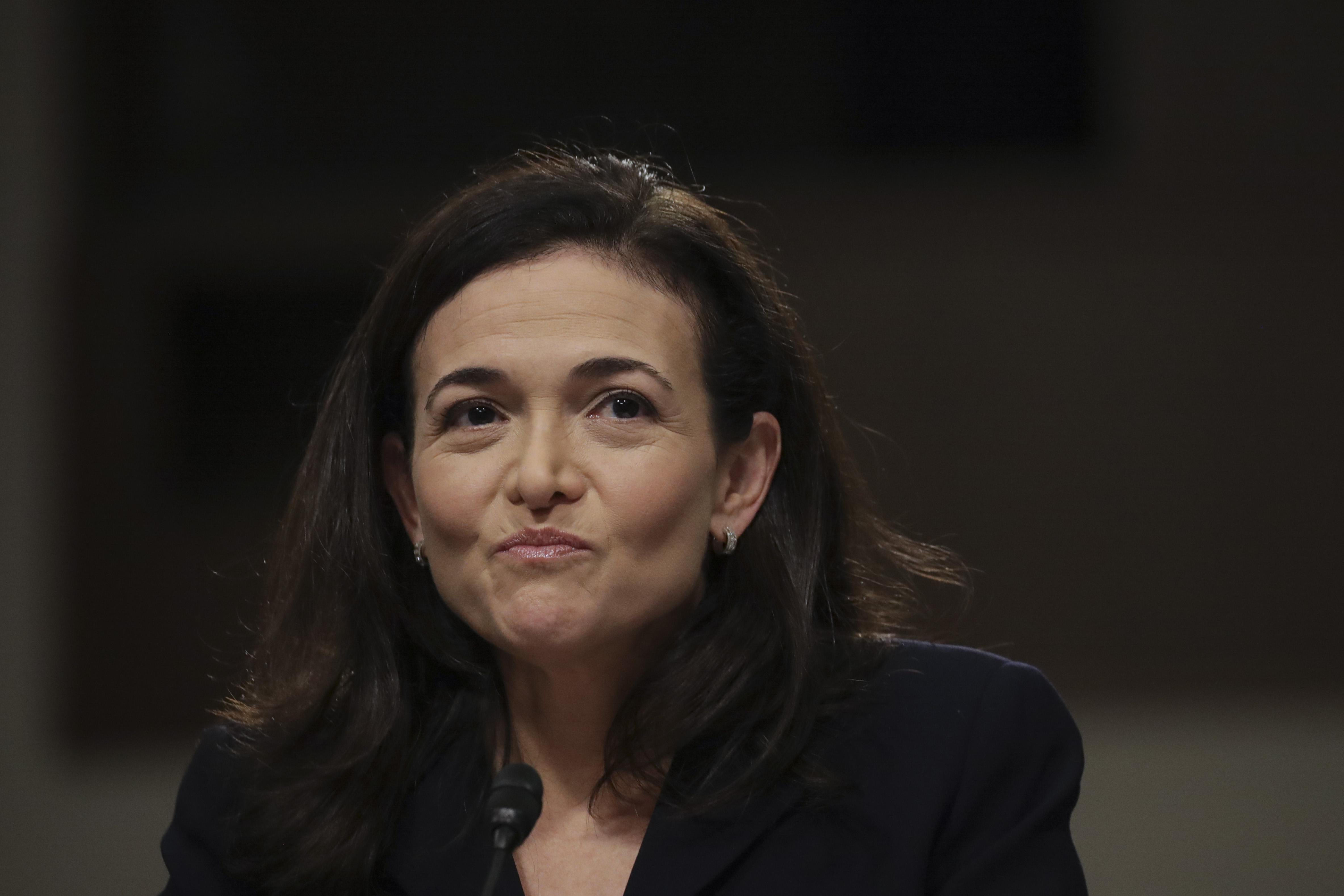 Facebook chief operating officer Sheryl Sandberg testifies during a Senate Intelligence Committee hearing concerning foreign influence operations' use of social media platforms, on Capitol Hill, September 5, 2018 in Washington, DC.