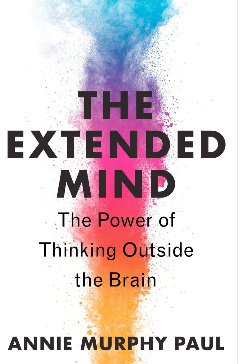 The book cover of The Extended Mind: The Power of Thinking Outside the Brain, by Annie Murphy Paul, shows a tower of multicolored smoke.