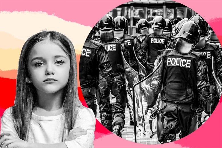Photo collage of a young white girl and a group of police officers in riot gear