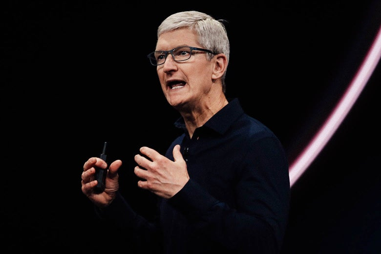 Apple CEO Tim Cook delivers the keynote address during the 2019 Apple Worldwide Developer Conference