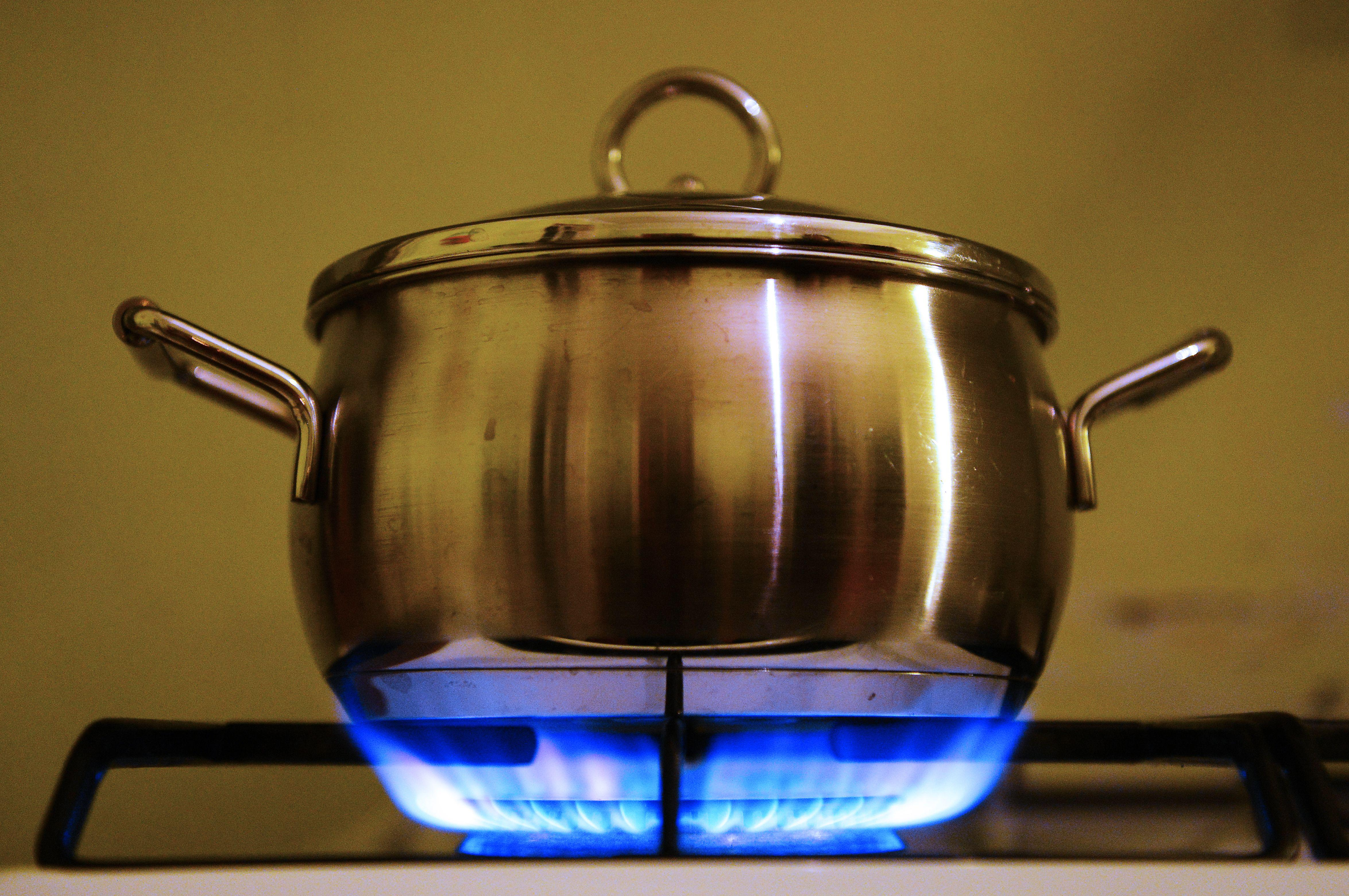 A picture taken on December 11, 2012 in Chisseaux, western France shows a stockpot on a flame of a gas stove.