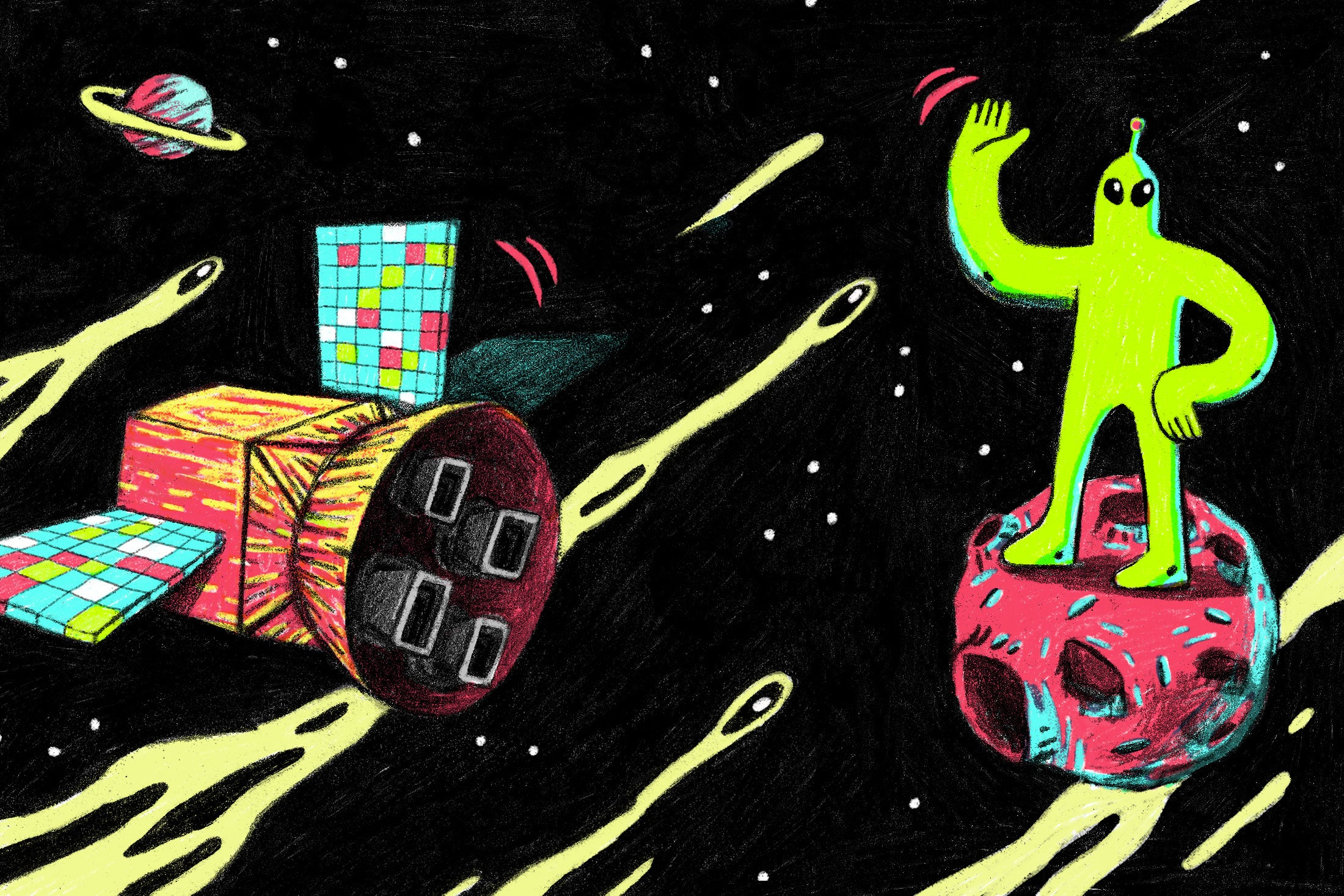 Illustration: An alien stands on an asteroid as a satellite passes by.