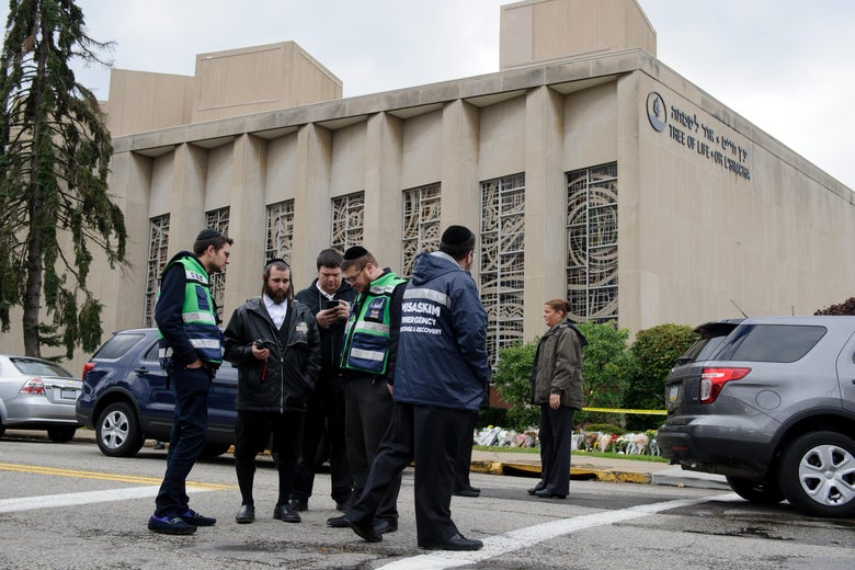 Emergency responders outside Tree of Life synagogue in Pittsburgh.