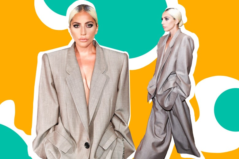Two views of Lady Gaga in the oversize suit on Monday.