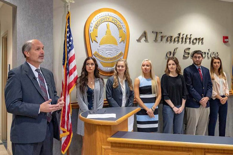 St. Joseph County prosecutor Ken Cotter swore in six Notre Dame students as investigators in the county's Cyber Crimes Unit.