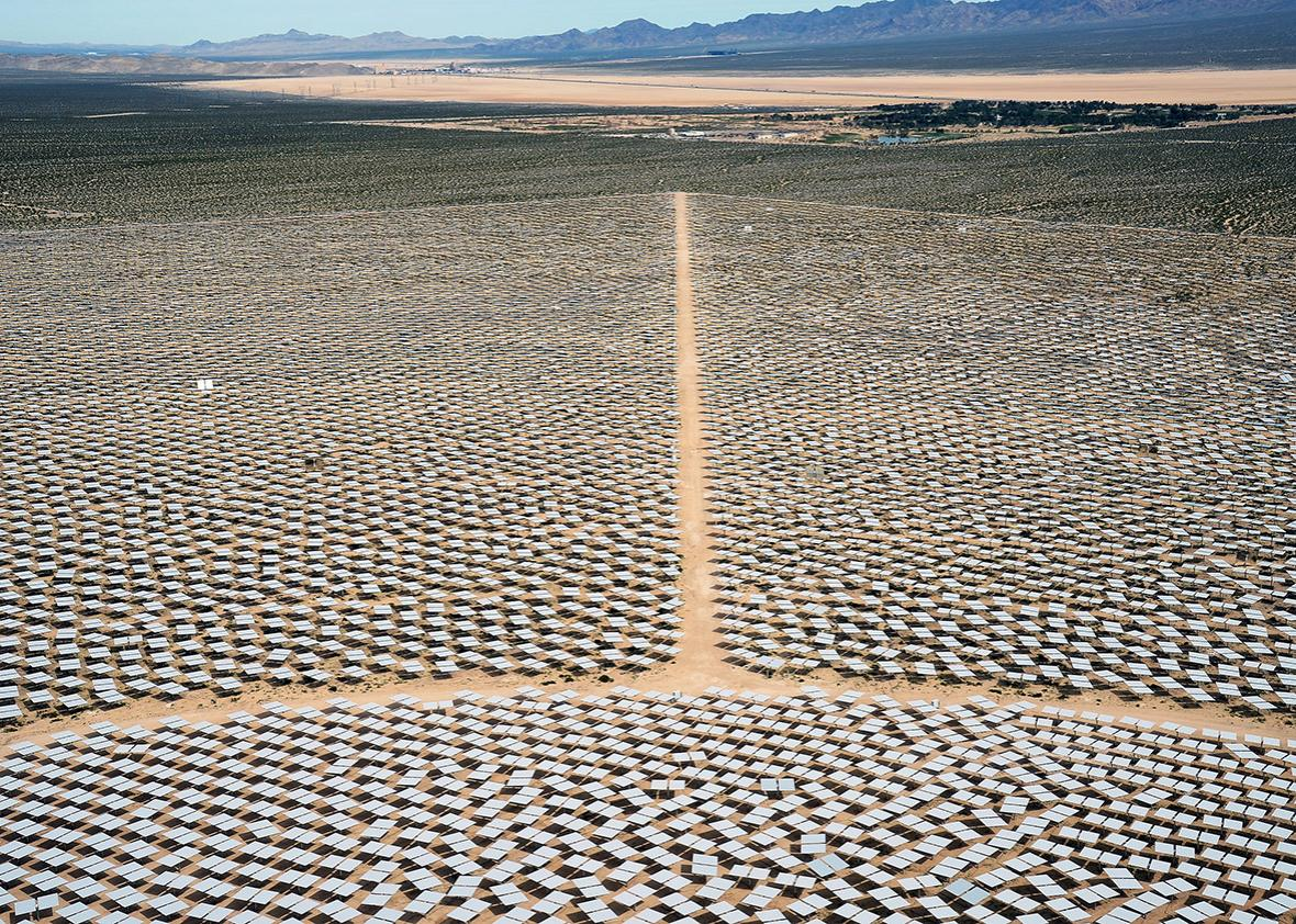 Heliostats at the Ivanpah Solar Electric Generating System in the Mojave Desert in California near Primm, Nevada.