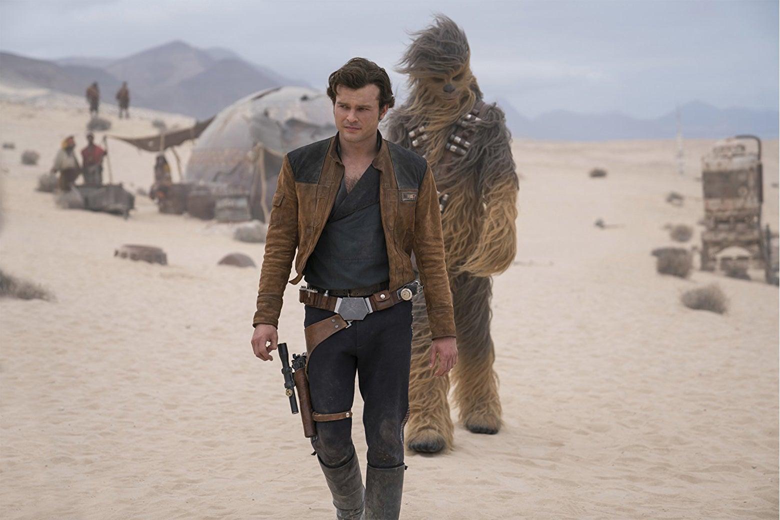 Alden Erenreich and Joonas Suotamo in Solo: A Star Wars Story.