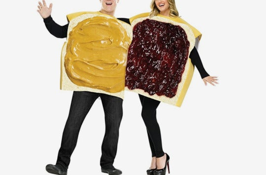 Couple dressed as slices of a peanut butter and jelly sandwich.
