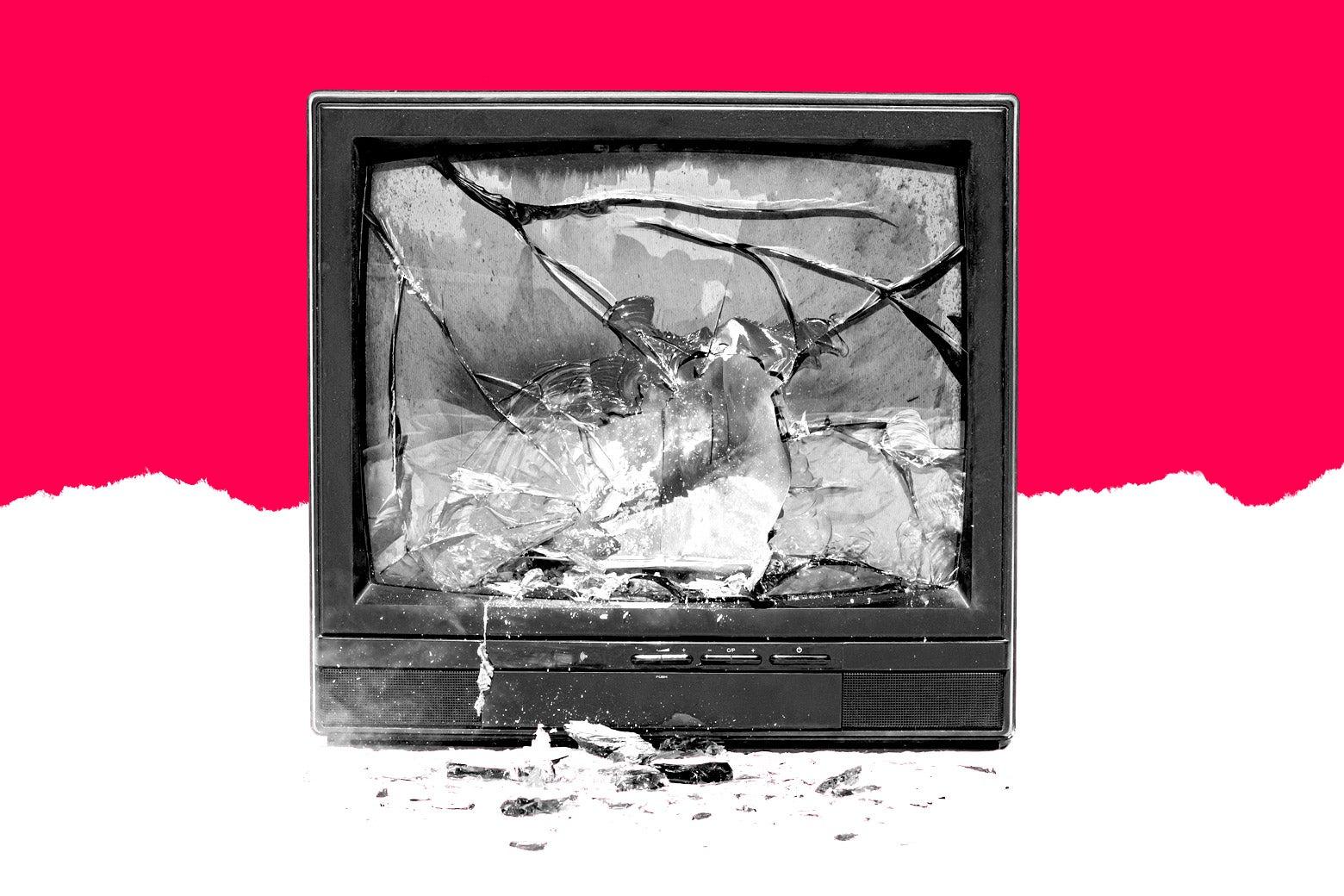 A broken television.