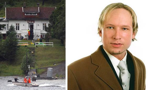 (Left) Norwegian police search Utoya island following attack. (Right) Portrait of Anders Behring Breivik, the suspected perpetrator of the attacks on Norway.