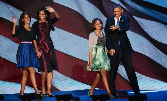 Barack Obama and family celebrate his victory.