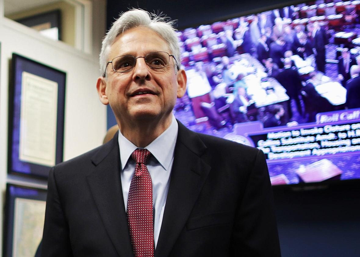 U.S. Supreme Court nominee and chief judge of the United States Court of Appeals for the District of Columbia Circuit Merrick Garland waits for the arrival of Sen. Jeff Merkley in his office in the Hart Senate Office Building on Capitol Hill May 19, 2016 in Washington, DC.