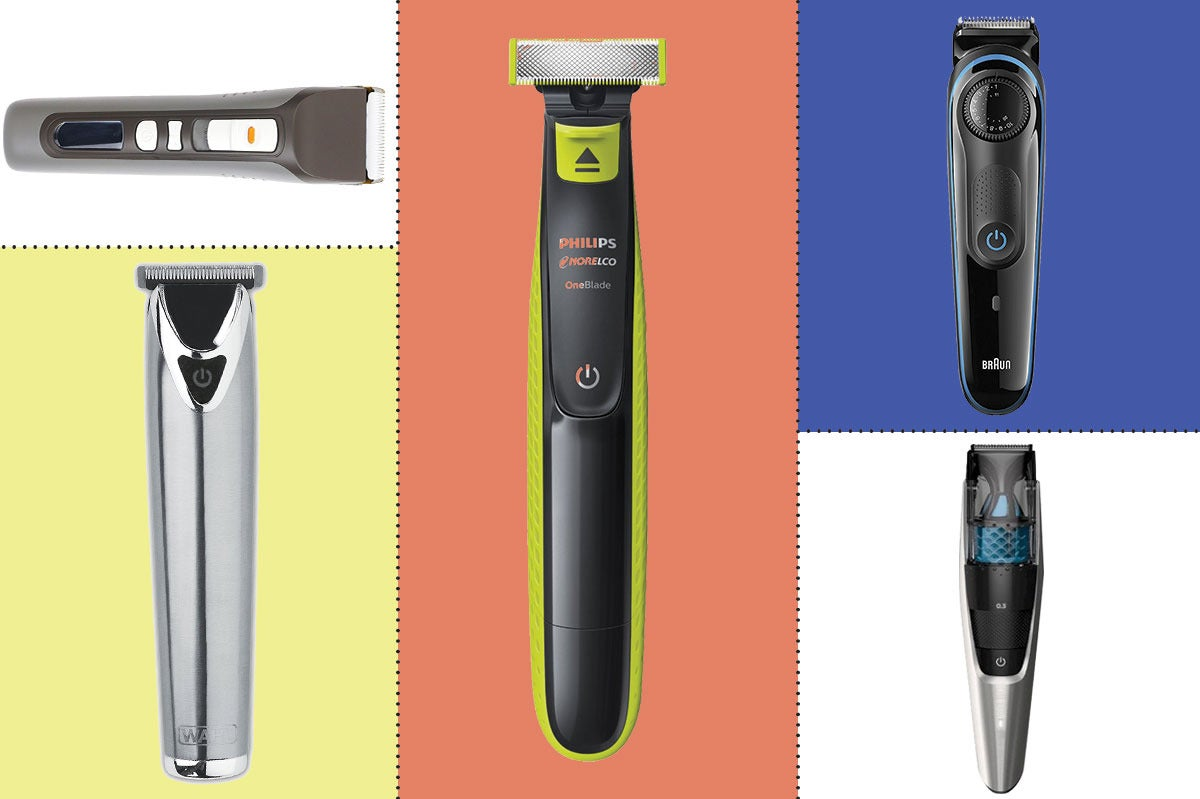 Composite of various beard trimmers.